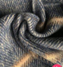 La Maison Victor Mantelstof geruit blauw/beige - LMV Sigrid Cape