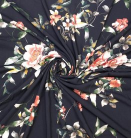 Viscose zwart digital flowers in zalmrose en koraal