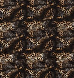 COUPON Crepe dierenprint zebra/luipaard/tijger zwart-bruin 80x150cm