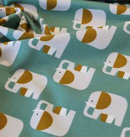 COUPON Organic tricot retro elephant mint 25x150cm