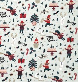 Rico Design Kerst katoen mint elfjes met gouden folie
