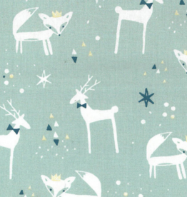Domotex COUPON Kerst katoen rendier&vos mint met gouden folie 65x145cm