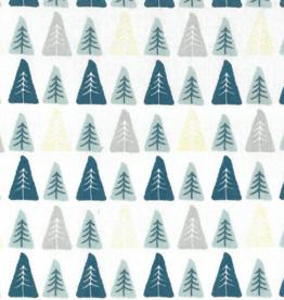 Domotex Kerst katoen Dennenbomen op een rij wit, mint, petrol en gouden folie