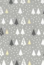 Domotex Kerst katoen Dennenbomen lichtgrijze, taupe en gouden folie