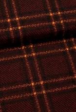 Fibre Mood COUPON Gebreide ruit bordeau/oker - Fibre Mood Jackie 140x155cm