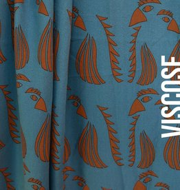 About Blue Fabrics Wonders of Life - Parrot Blue Viscose