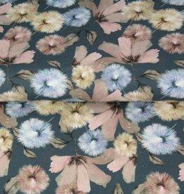 Tricot pastel gebloemd blaasbloemen blauw
