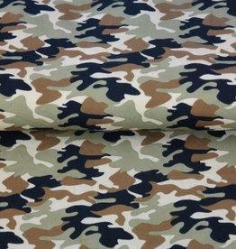 Katoen poplin met legerprint in armygreen, khaki en bruin