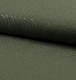 Mousseline khaki met lurex draadje