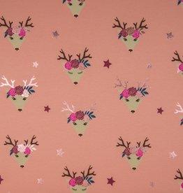 COUPON Tricot rendier met bloemetjes folieprint roségold 100x140cm