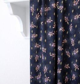 Atelier Jupe Donkerblauwe lurex viscose met roze bloemen