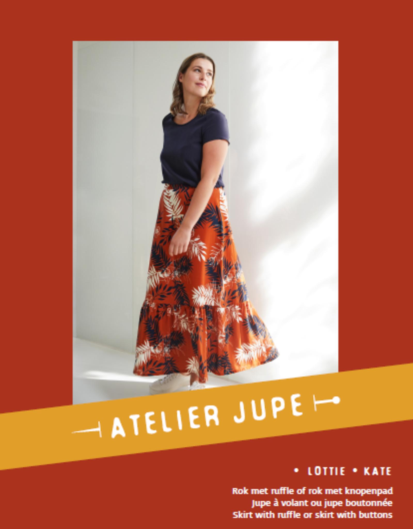 Lottie rok met ruffle & Kate rok met knopenpad - Atelier Jupe