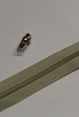 1m metallic rits aan de meter 4mm : beige met goud (incl. 3 schuivers)