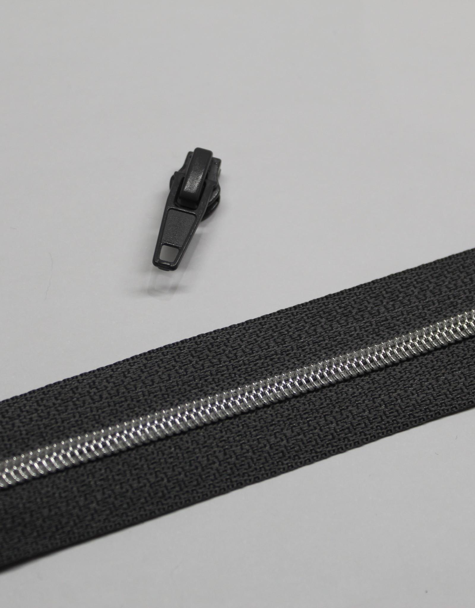1m metallic rits aan de meter 4mm : antraciet met zilver (incl. 3 schuivers)