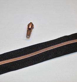 1m metallic rits aan de meter 4mm : zwart met koper (incl. 3 schuivers)