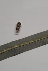 1m metallic rits aan de meter 4mm : grijs met goud (incl. 3 schuivers)