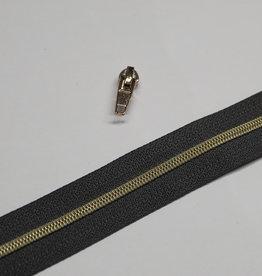 1m metallic rits aan de meter 4mm : antraciet met goud (incl. 3 schuivers)