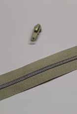 1m metallic rits aan de meter 4mm : beige met zilveren (incl. 3 schuivers)