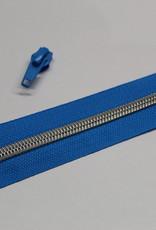 1m metallic rits aan de meter 6mm : blauw met zilver (incl. 3 schuivers)