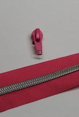 1m metallic rits aan de meter 6mm : fuchsia met zilver (incl. 3 schuivers)