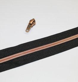 Ritsen aan de meter : 3 meter rits + 12 schuivers : zwart met koper