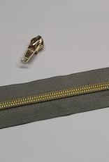 1m metallic rits aan de meter 6mm : grijs met goud (incl. 3 schuivers)