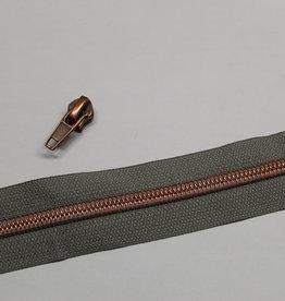 1m metallic rits aan de meter 6mm : grijs met koper (incl. 3 schuivers)