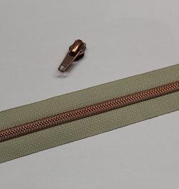 1m metallic rits aan de meter 6mm : beige met koper (incl. 3 schuivers)