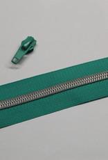 1m metallic rits aan de meter 6mm : groen met zilver (incl. 3 schuivers)