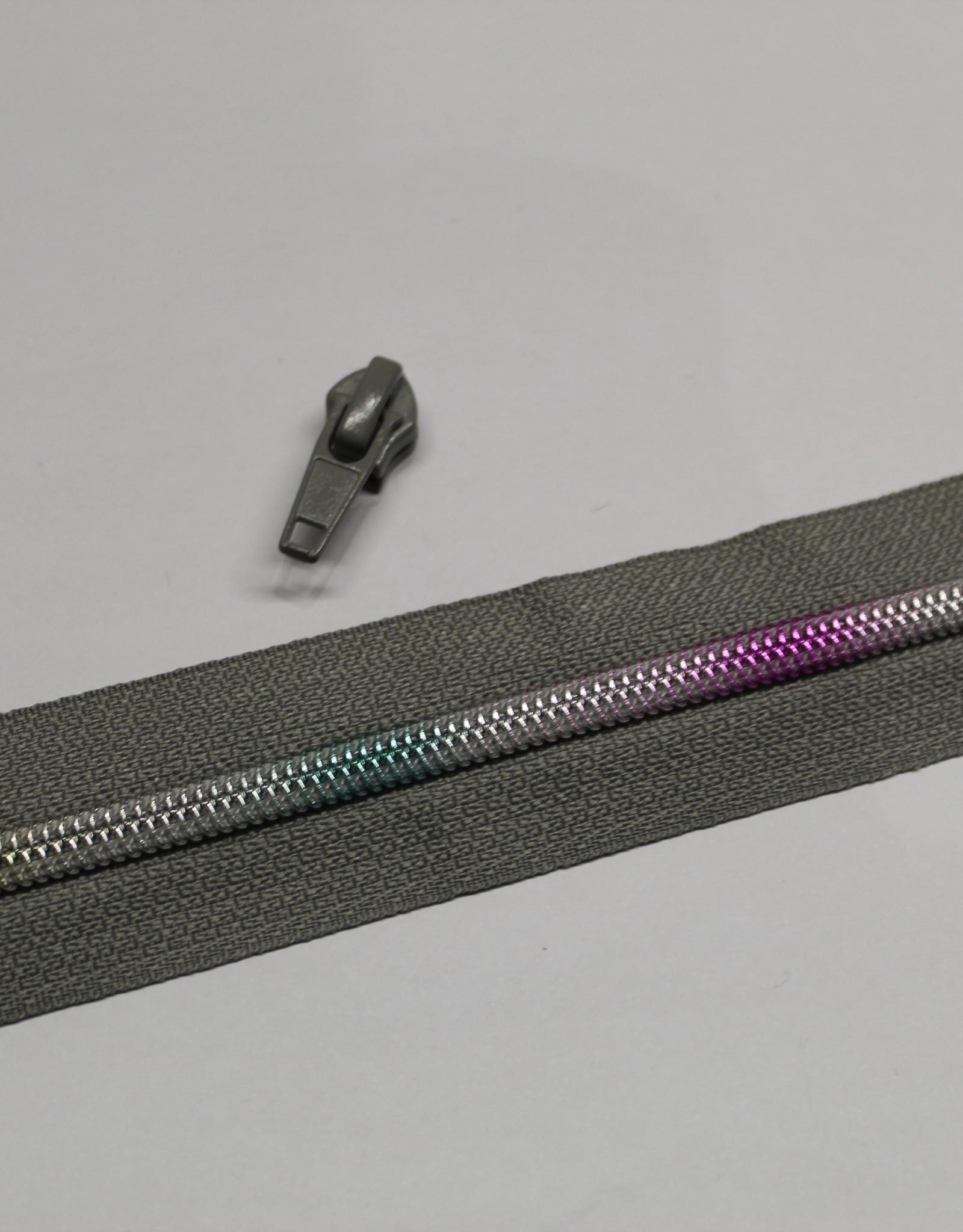 1m metallic rits aan de meter 6mm : grijs met multicolor tandjes (incl. 3 schuivers)