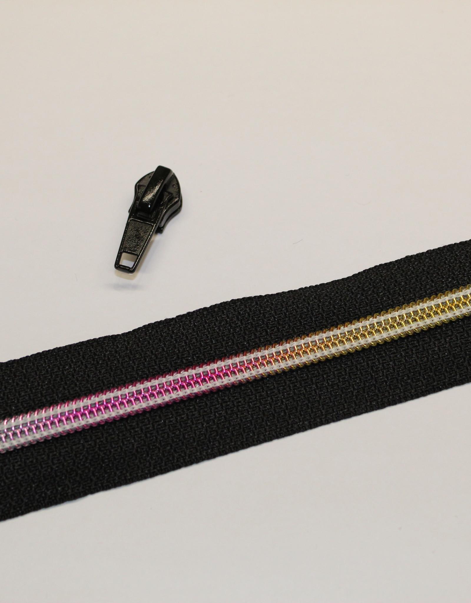 1m metallic rits aan de meter 6mm : zwart met multicolor tandjes (incl. 3 schuivers)