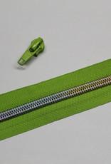 1m metallic rits aan de meter 6mm : lime met multicolor tandjes (incl. 3 schuivers)