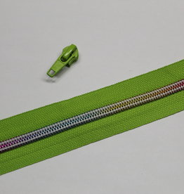 1m metallic rits aan de meter 6mm : lime met multicolor tandjes (incl. 3 schuivers)