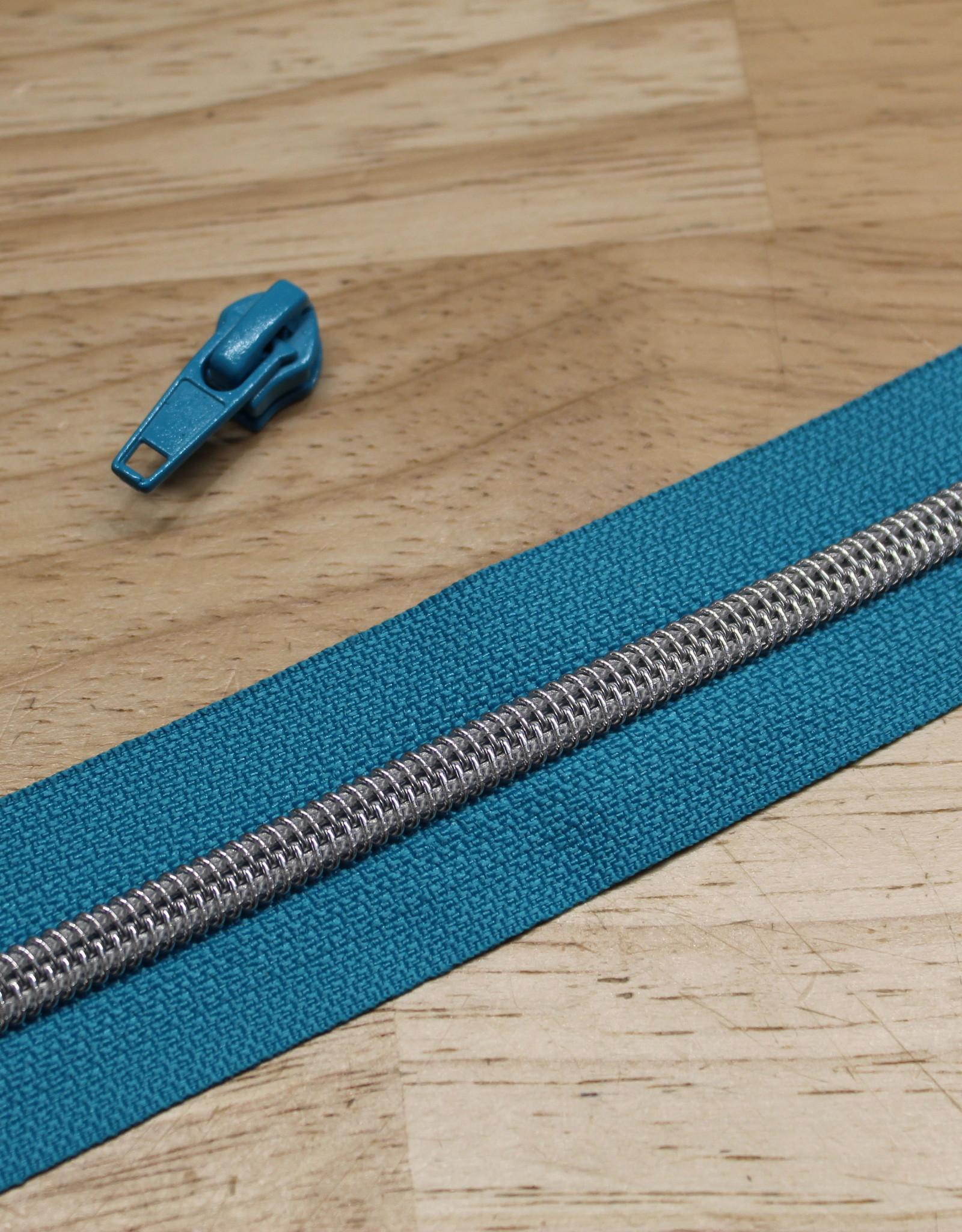 1m metallic rits aan de meter 6mm : turquoise met zilver (incl. 3 schuivers)