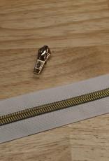 1m metallic rits aan de meter 6mm : wit met goud (incl. 3 schuivers)