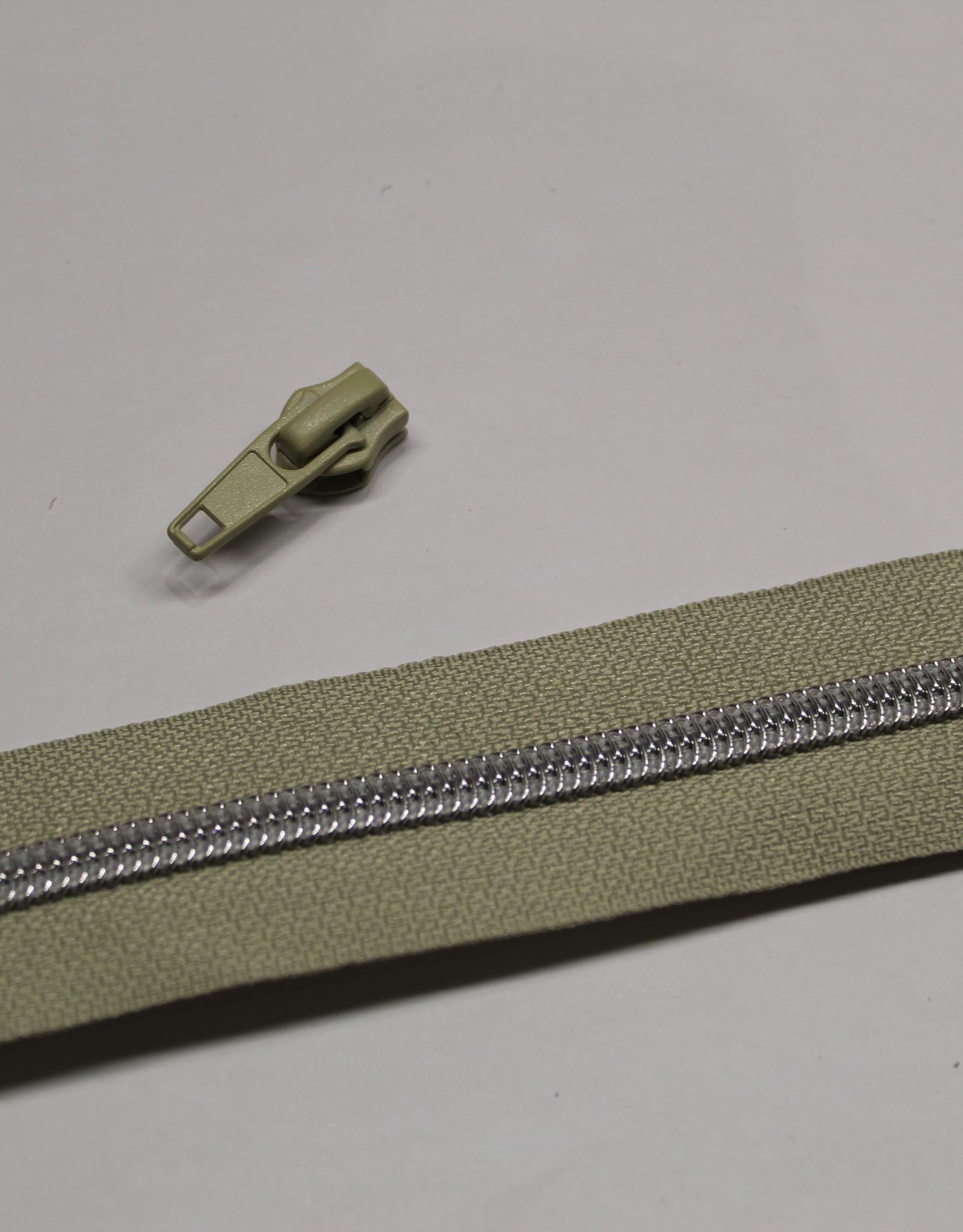 1m metallic rits aan de meter 6mm : beige met zilver (incl. 3 schuivers)