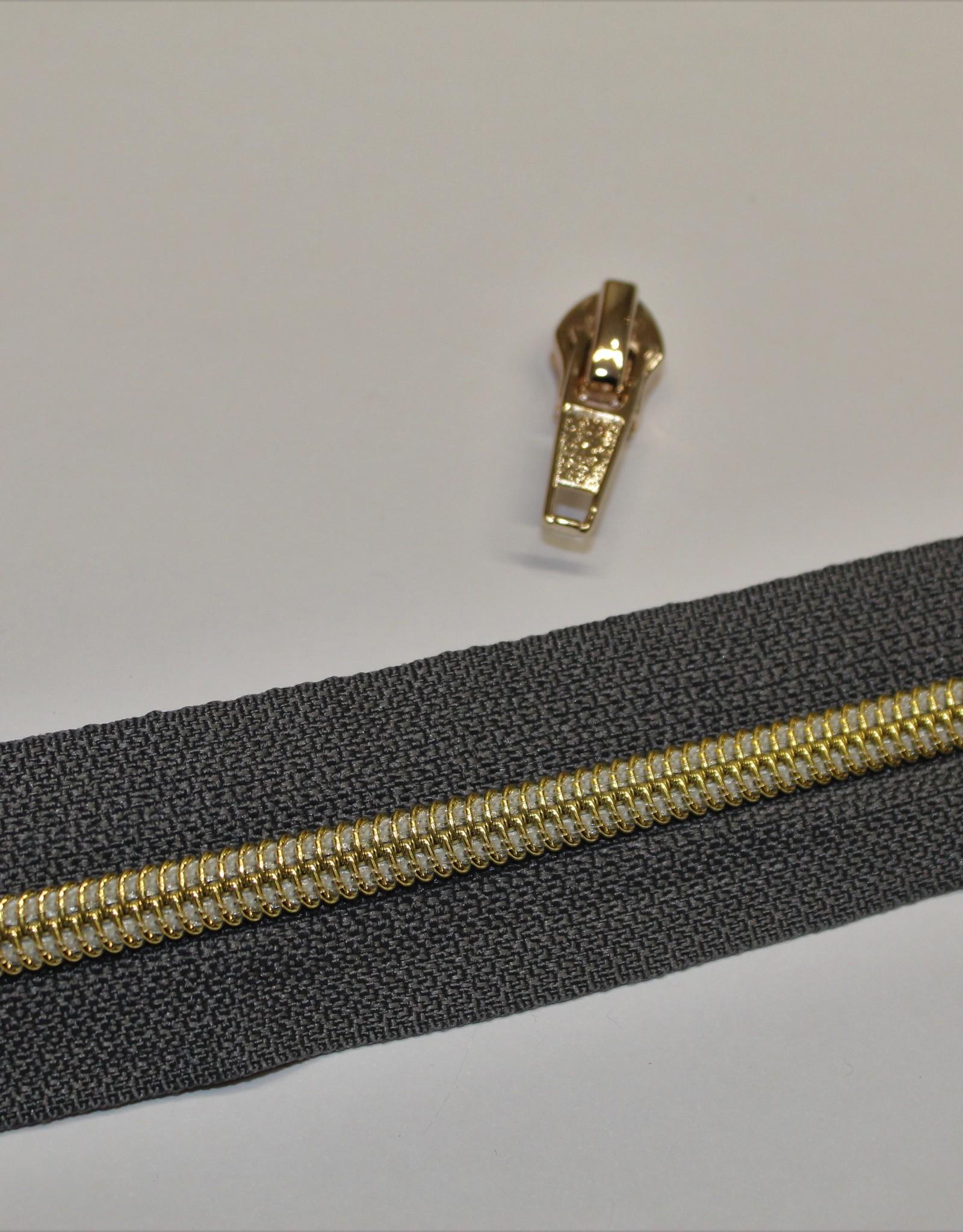 1m metallic rits aan de meter 6mm : antraciet met goud (incl. 3 schuivers)