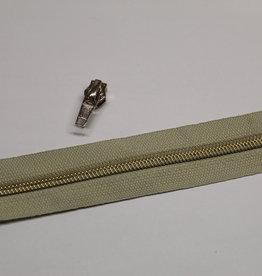 1m metallic rits aan de meter 6mm : beige met goud (incl. 3 schuivers)