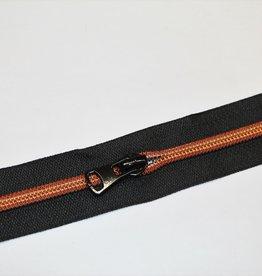 Union Knopf Rits 50cm zwart met koperen tanden en zwarte schuiver