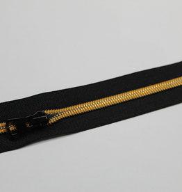 Union Knopf Rits 50cm zwart met gouden tanden en zwarte schuiver