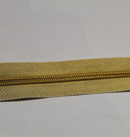 Union Knopf Rits aan de meter goud met metallic  tanden in goud 6mm