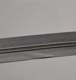 Union Knopf Rits aan de meter zilver met metallic  tanden in zilver 6mm