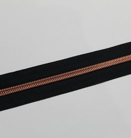Union Knopf Rits aan de meter zwart met metallic  tanden in roségold 6mm