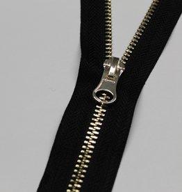 Deelbare rits zwart met metallic zachtgoud 55cm