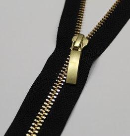 Deelbare rits zwart met metallic goud 50cm