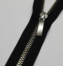 Deelbare rits zwart met metallic zilver 50cm