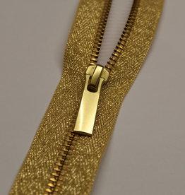 YKK Deelbare metaalrits lurex goud 50cm