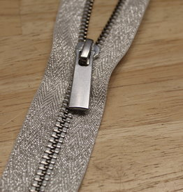 YKK Deelbare metaalrits lurex zilver 50cm