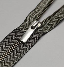 YKK Metaalrits lurex  zwart/zilver 18cm