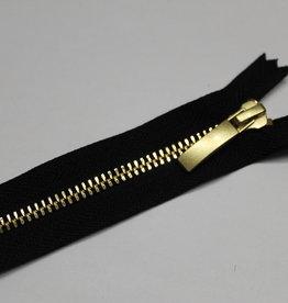 YKK Metaalrits zwart met gouden tanden en schuiver 18cm